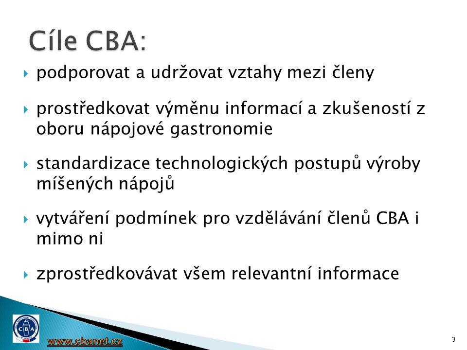 Cíle CBA: podporovat a udržovat vztahy mezi členy