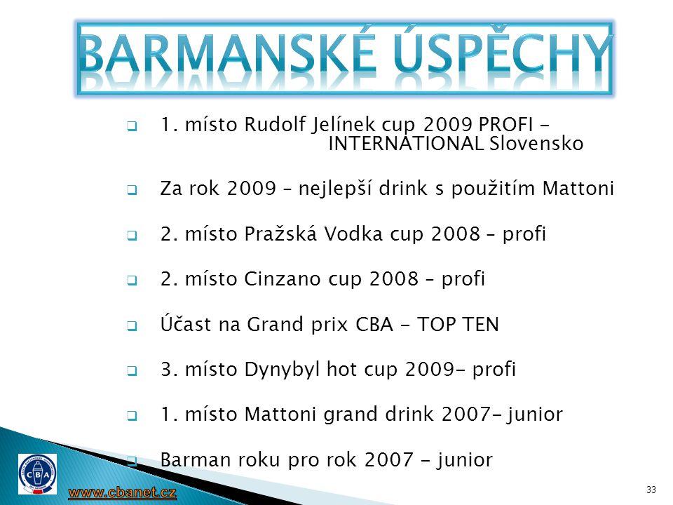 Barmanské úspěchy 1. místo Rudolf Jelínek cup 2009 PROFI - INTERNATIONAL Slovensko. Za rok 2009 – nejlepší drink s použitím Mattoni.