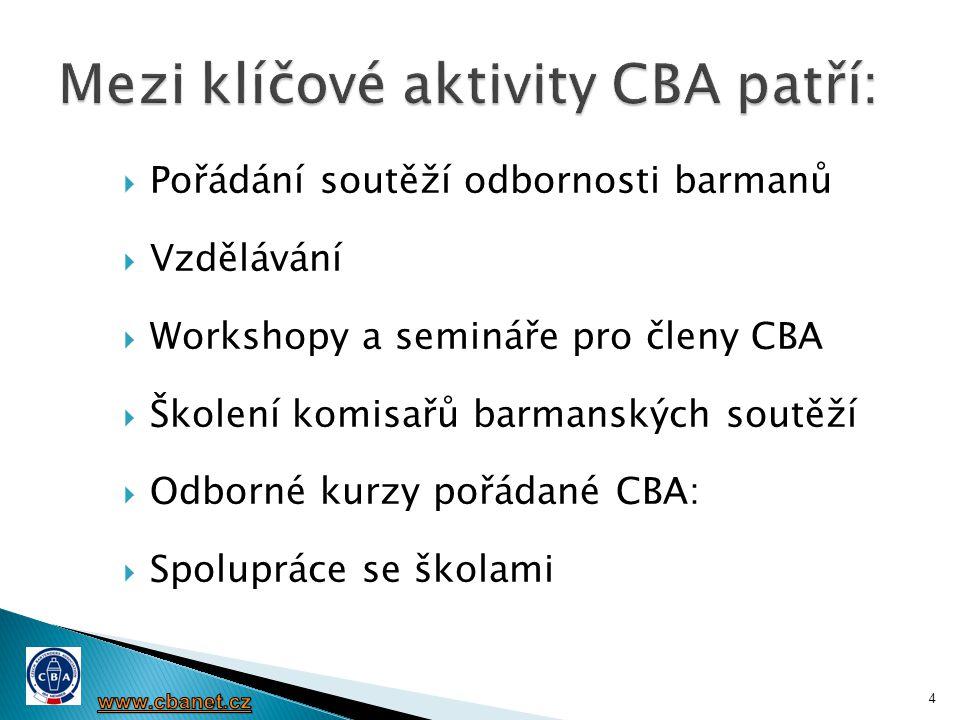 Mezi klíčové aktivity CBA patří: