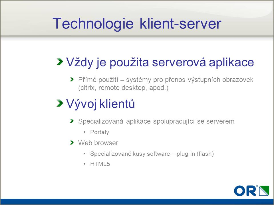 Technologie klient-server