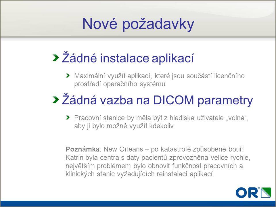 Nové požadavky Žádné instalace aplikací Žádná vazba na DICOM parametry