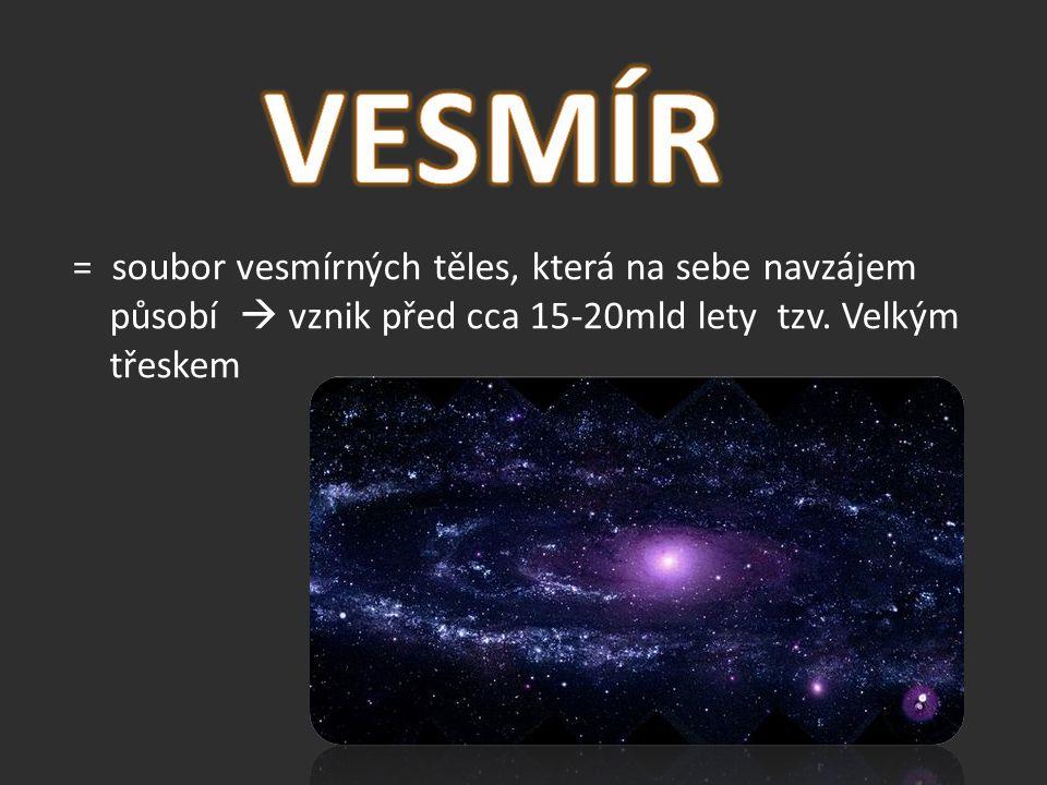 VESMÍR = soubor vesmírných těles, která na sebe navzájem