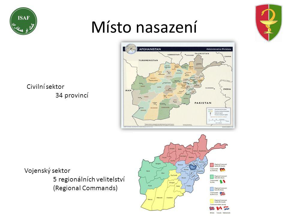 Místo nasazení Civilní sektor 34 provincí Vojenský sektor