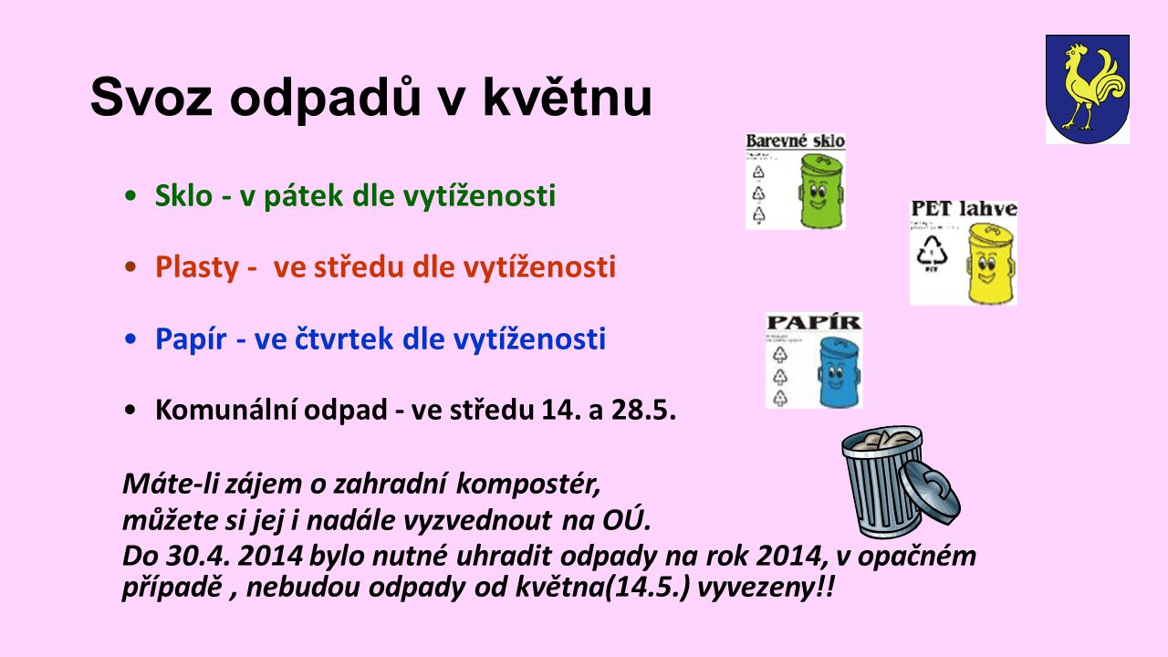 Svoz odpadů v květnu Sklo - v pátek dle vytíženosti