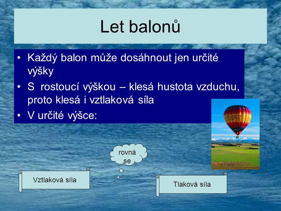 Let balonů Každý balon může dosáhnout jen určité výšky