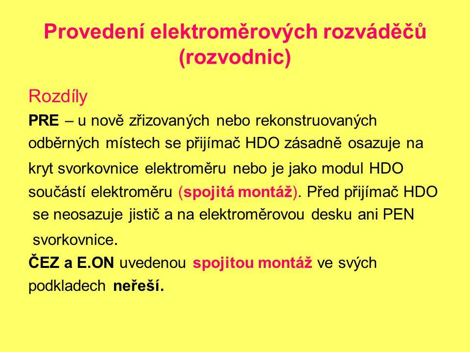 Provedení elektroměrových rozváděčů (rozvodnic)
