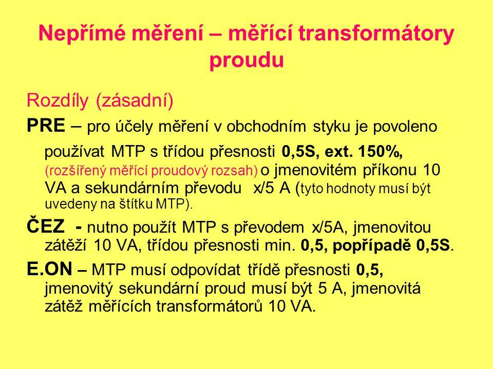 Nepřímé měření – měřící transformátory proudu