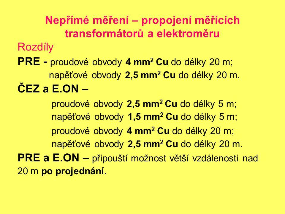Nepřímé měření – propojení měřících transformátorů a elektroměru