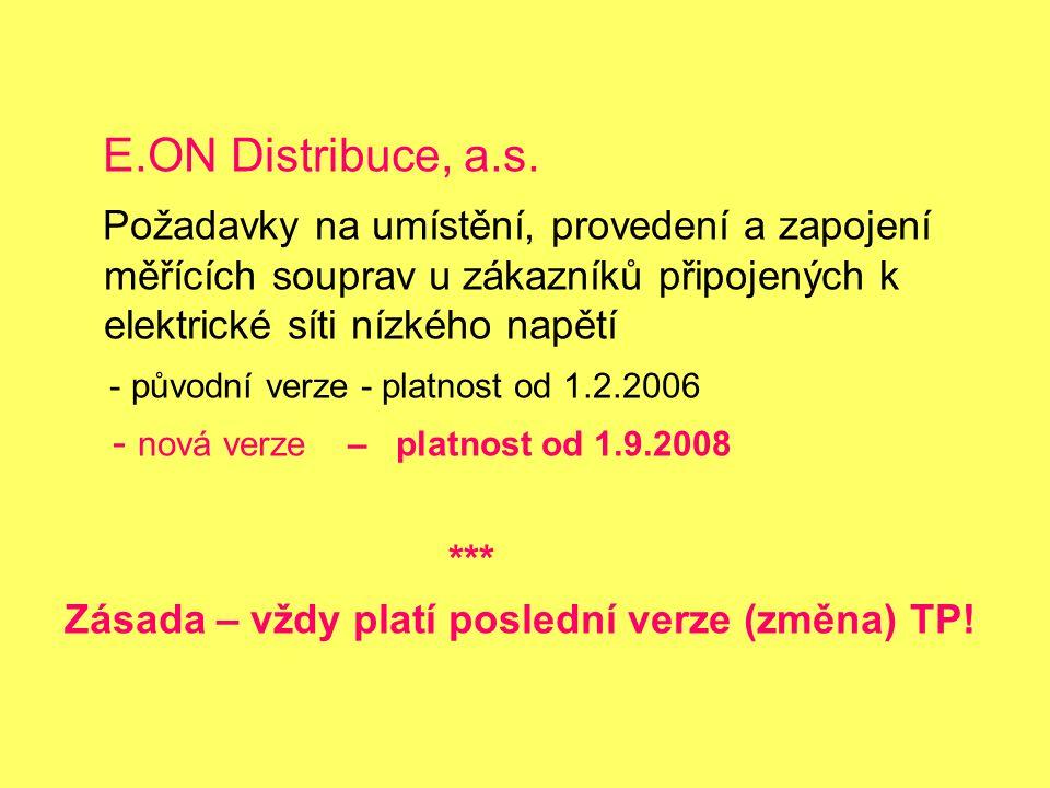 E.ON Distribuce, a.s. Požadavky na umístění, provedení a zapojení měřících souprav u zákazníků připojených k elektrické síti nízkého napětí.