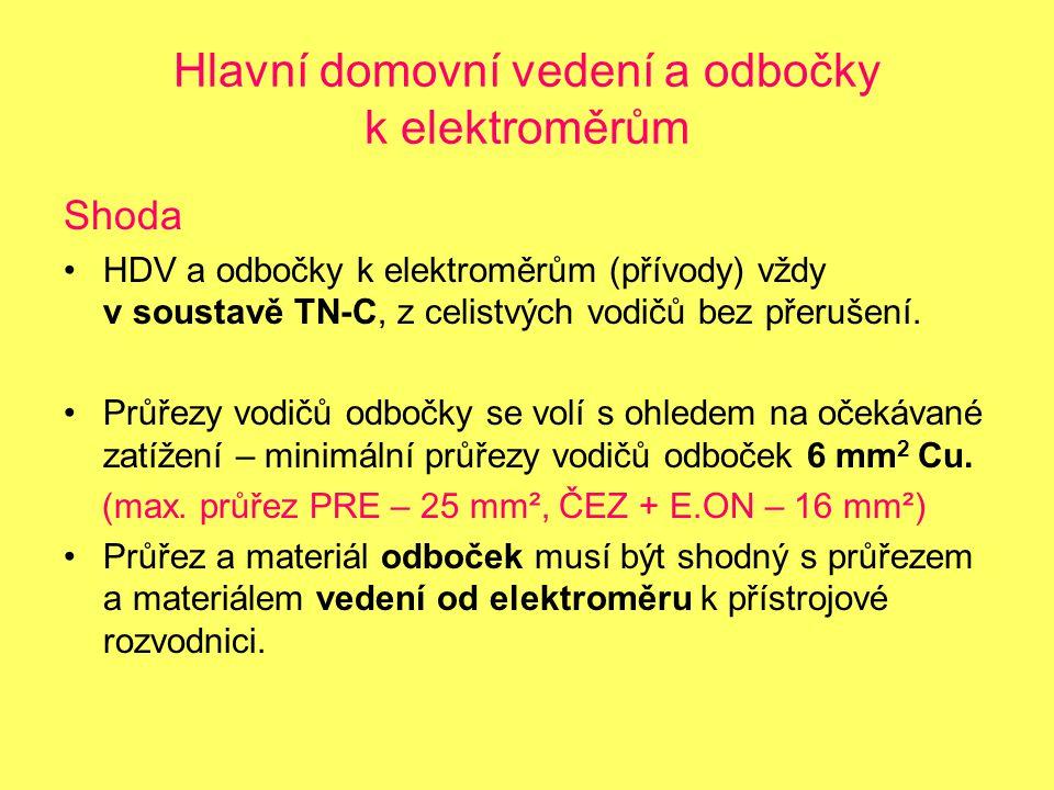 Hlavní domovní vedení a odbočky k elektroměrům