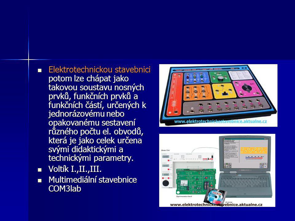 Elektrotechnickou stavebnici potom lze chápat jako takovou soustavu nosných prvků, funkčních prvků a funkčních částí, určených k jednorázovému nebo opakovanému sestavení různého počtu el. obvodů, která je jako celek určena svými didaktickými a technickými parametry.