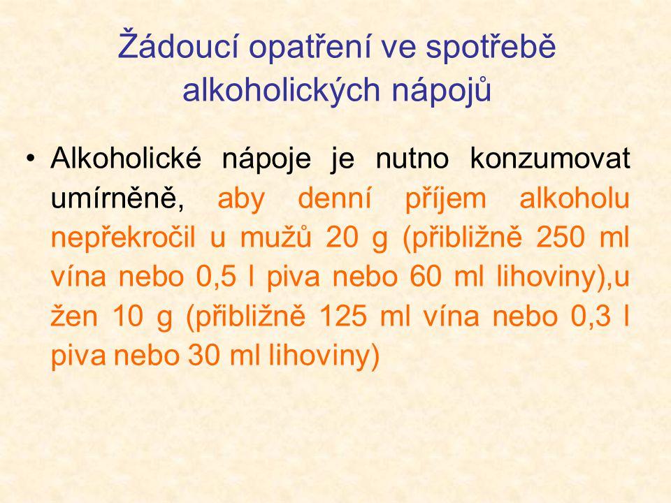 Žádoucí opatření ve spotřebě alkoholických nápojů