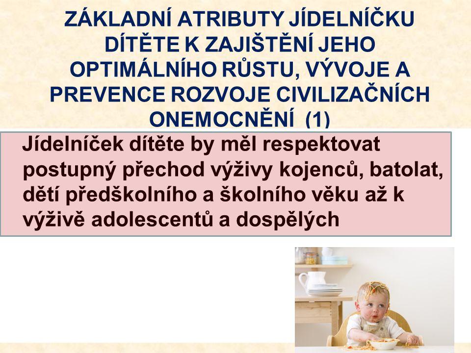 ZÁKLADNÍ ATRIBUTY JÍDELNÍČKU DÍTĚTE K ZAJIŠTĚNÍ JEHO OPTIMÁLNÍHO RŮSTU, VÝVOJE A PREVENCE ROZVOJE CIVILIZAČNÍCH ONEMOCNĚNÍ (1)