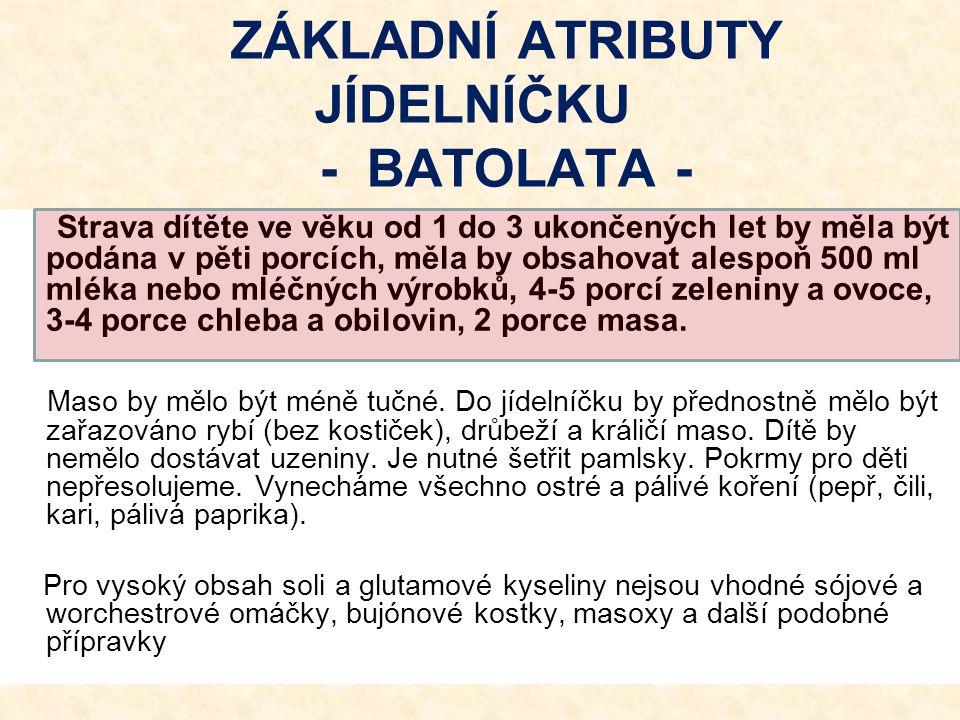 ZÁKLADNÍ ATRIBUTY JÍDELNÍČKU - BATOLATA -