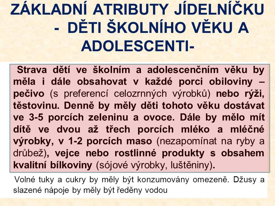 ZÁKLADNÍ ATRIBUTY JÍDELNÍČKU - DĚTI ŠKOLNÍHO VĚKU A ADOLESCENTI-