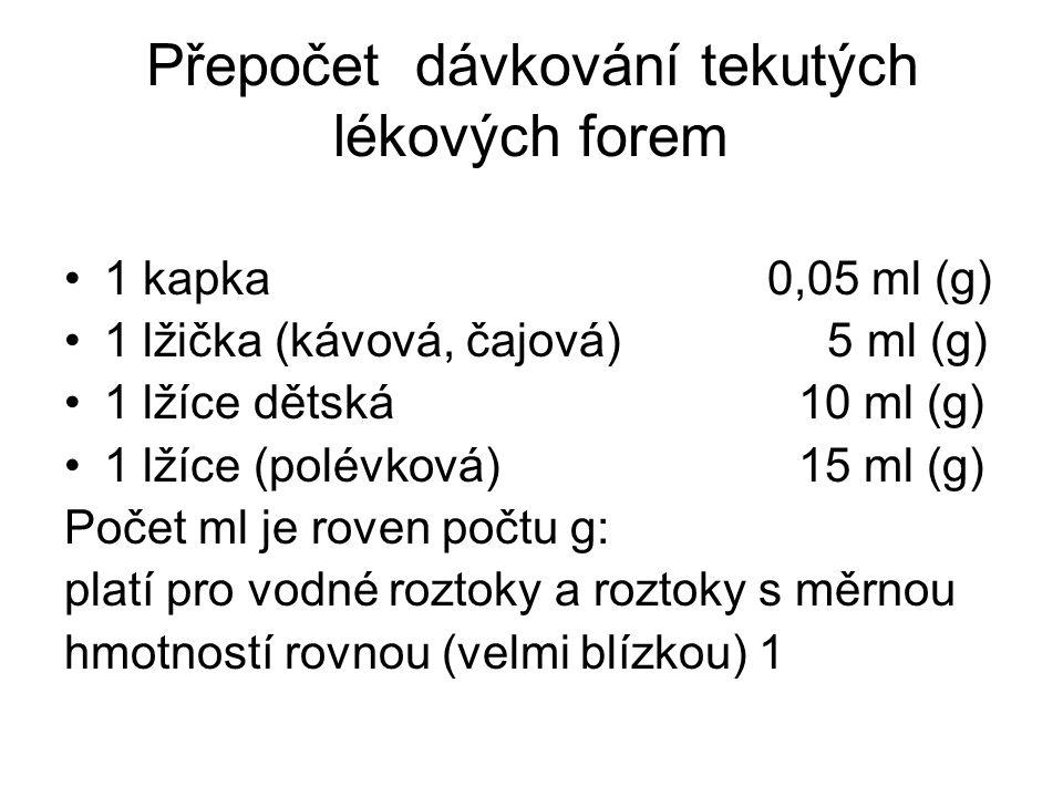 Přepočet dávkování tekutých lékových forem