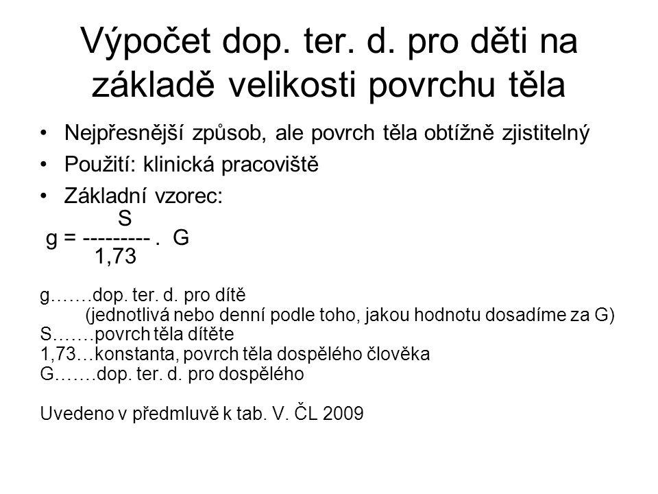 Výpočet dop. ter. d. pro děti na základě velikosti povrchu těla