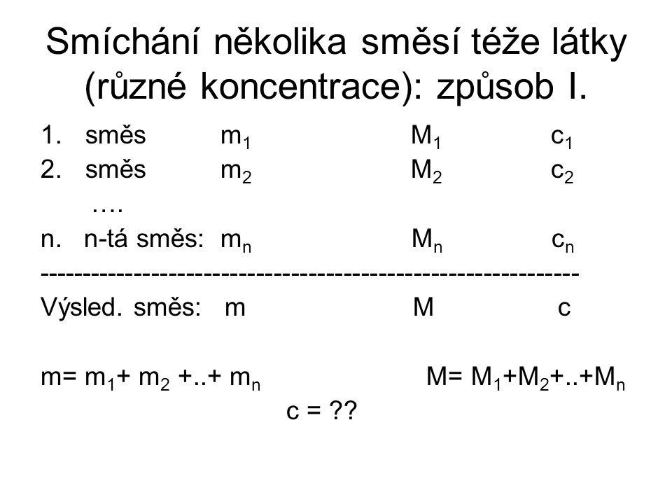 Smíchání několika směsí téže látky (různé koncentrace): způsob I.
