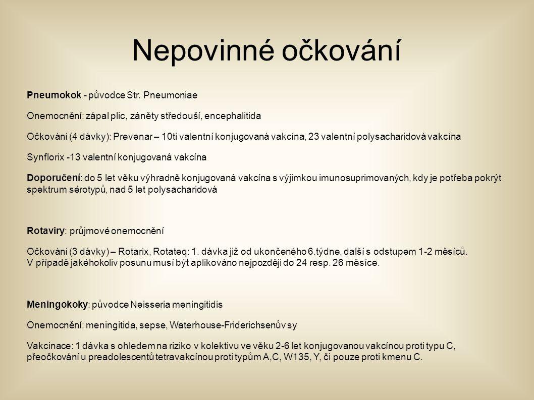 Nepovinné očkování Pneumokok - původce Str. Pneumoniae