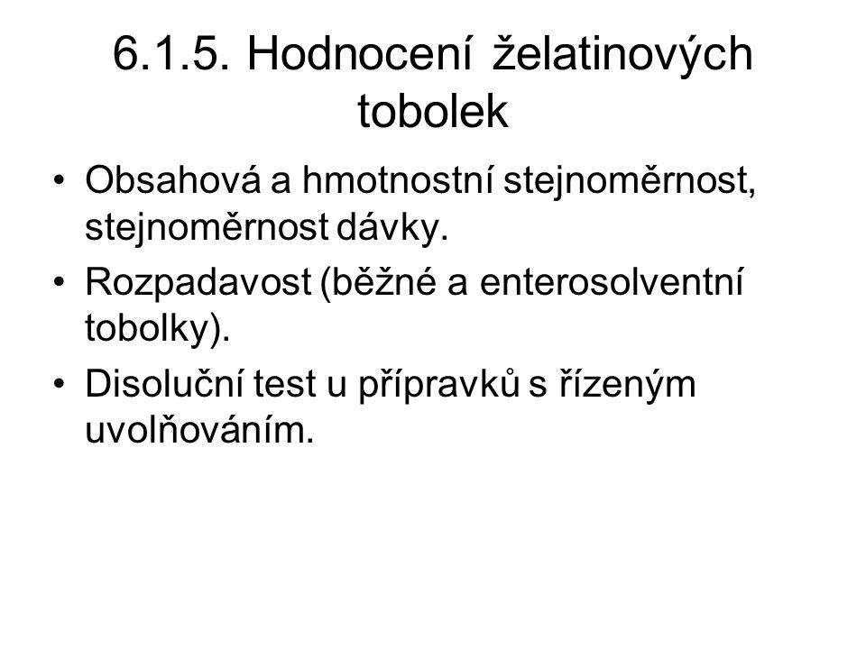6.1.5. Hodnocení želatinových tobolek