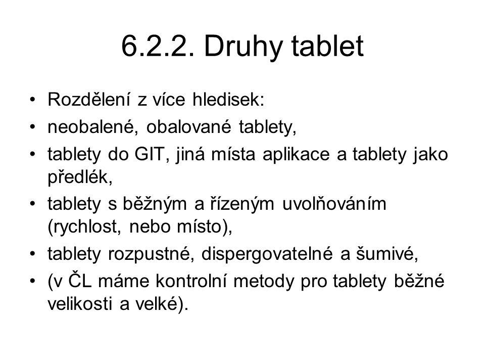 6.2.2. Druhy tablet Rozdělení z více hledisek: