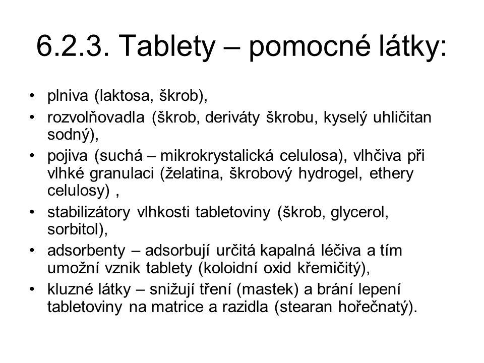 6.2.3. Tablety – pomocné látky: