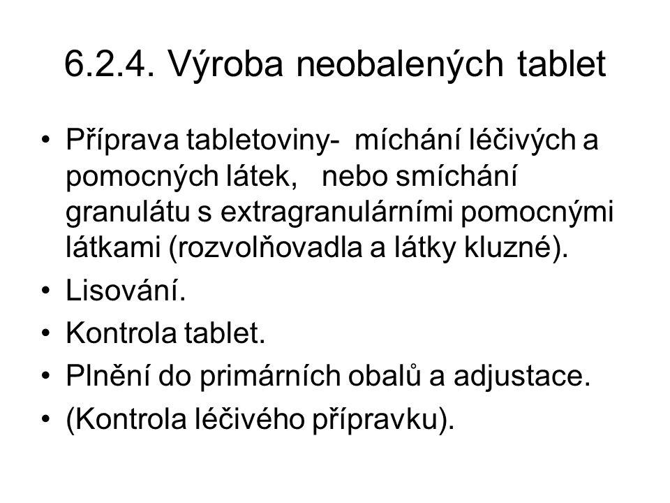 6.2.4. Výroba neobalených tablet