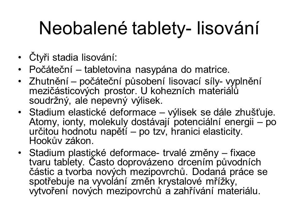 Neobalené tablety- lisování