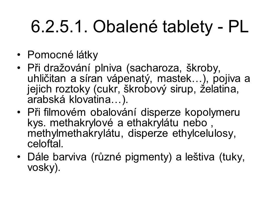 6.2.5.1. Obalené tablety - PL Pomocné látky