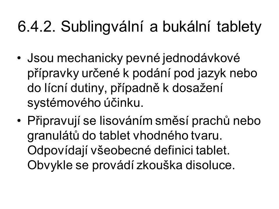 6.4.2. Sublingvální a bukální tablety