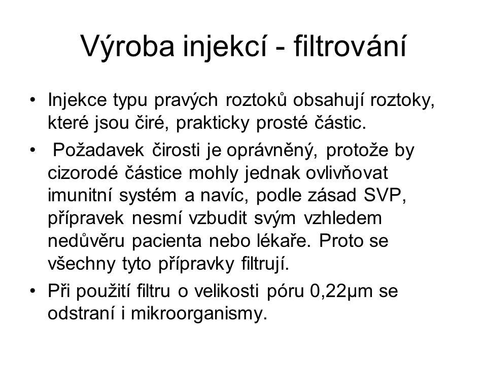 Výroba injekcí - filtrování
