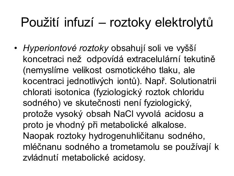 Použití infuzí – roztoky elektrolytů