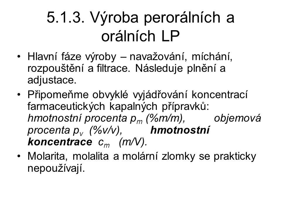 5.1.3. Výroba perorálních a orálních LP