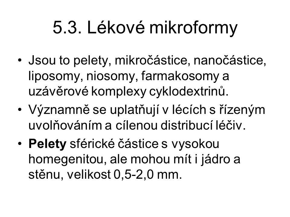 5.3. Lékové mikroformy Jsou to pelety, mikročástice, nanočástice, liposomy, niosomy, farmakosomy a uzávěrové komplexy cyklodextrinů.