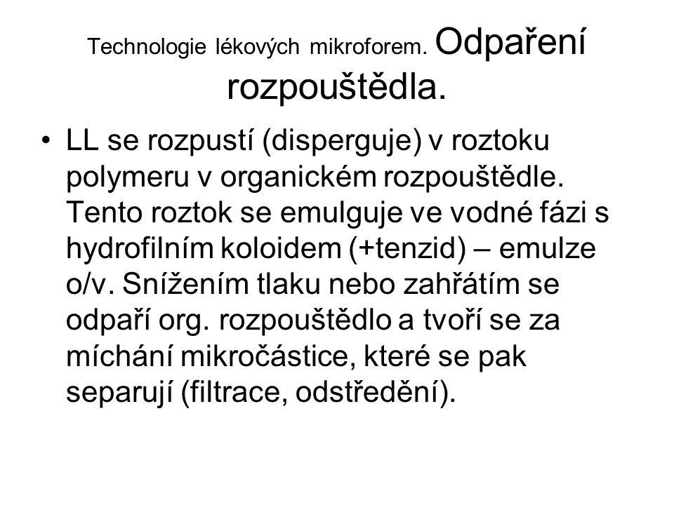 Technologie lékových mikroforem. Odpaření rozpouštědla.