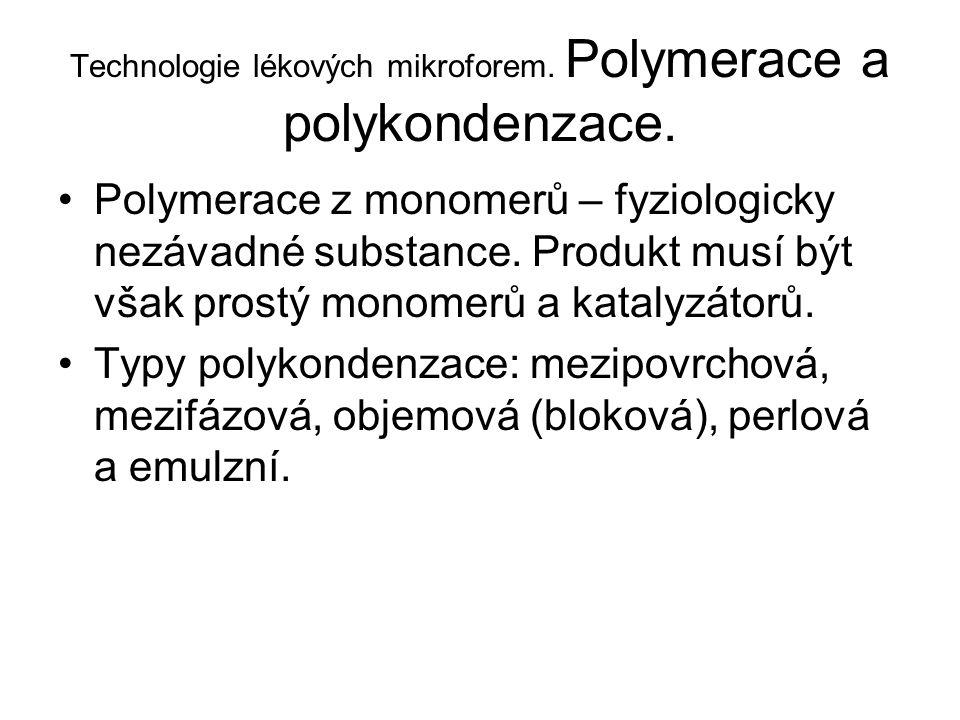 Technologie lékových mikroforem. Polymerace a polykondenzace.
