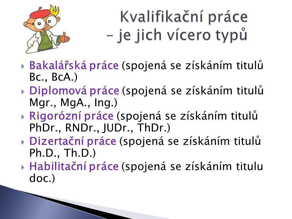 Bakalářská práce (spojená se získáním titulů Bc., BcA.)