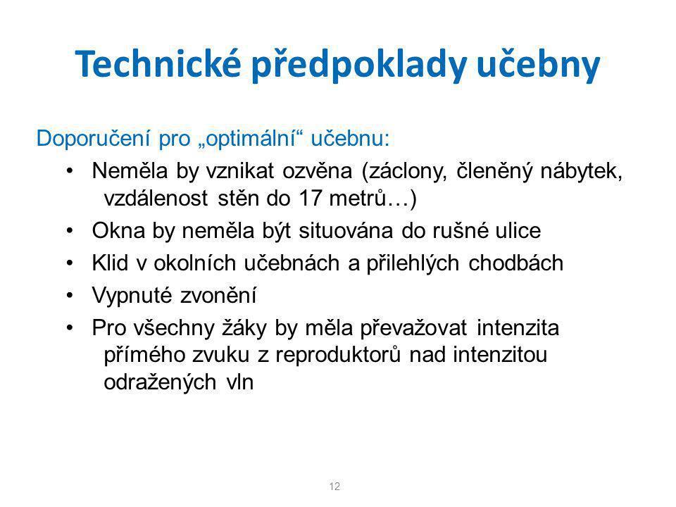 Technické předpoklady učebny