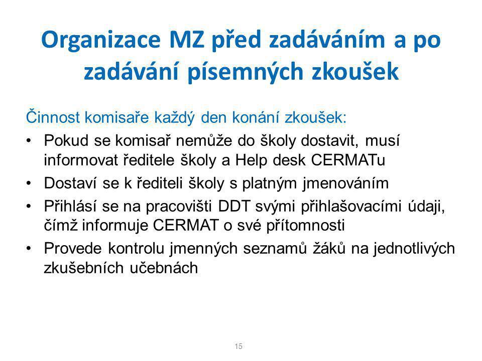 Organizace MZ před zadáváním a po zadávání písemných zkoušek