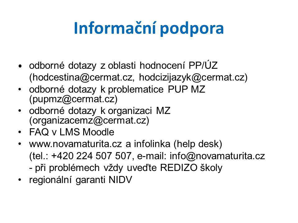 Informační podpora (hodcestina@cermat.cz, hodcizijazyk@cermat.cz)