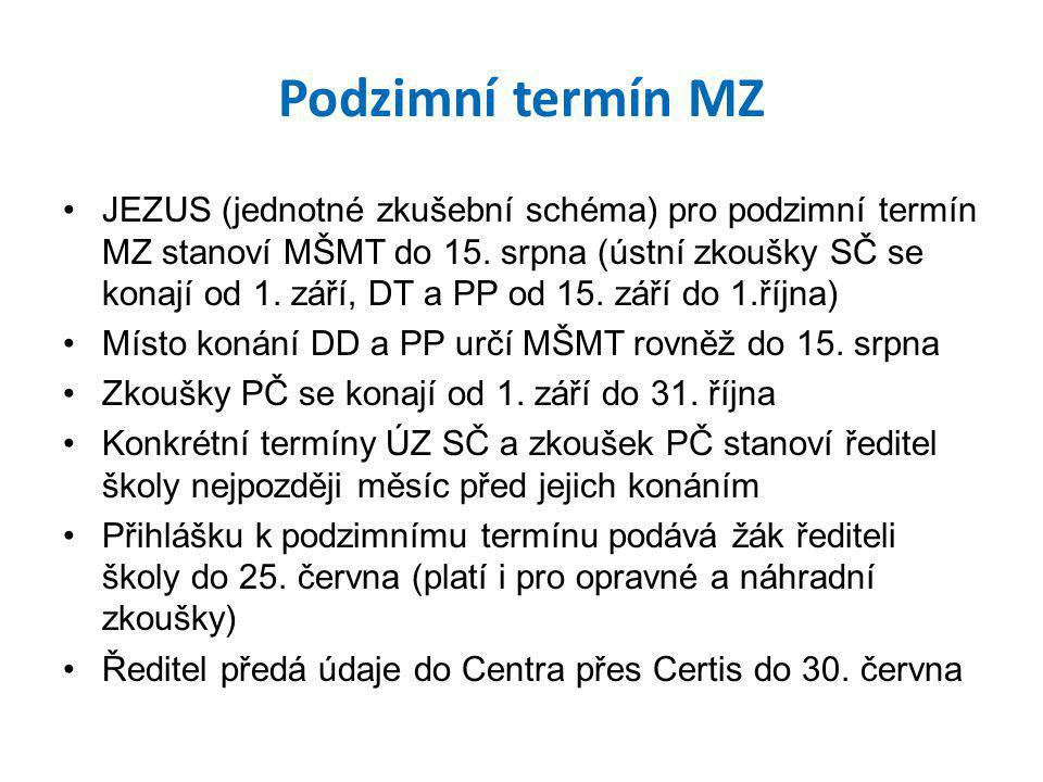 Podzimní termín MZ