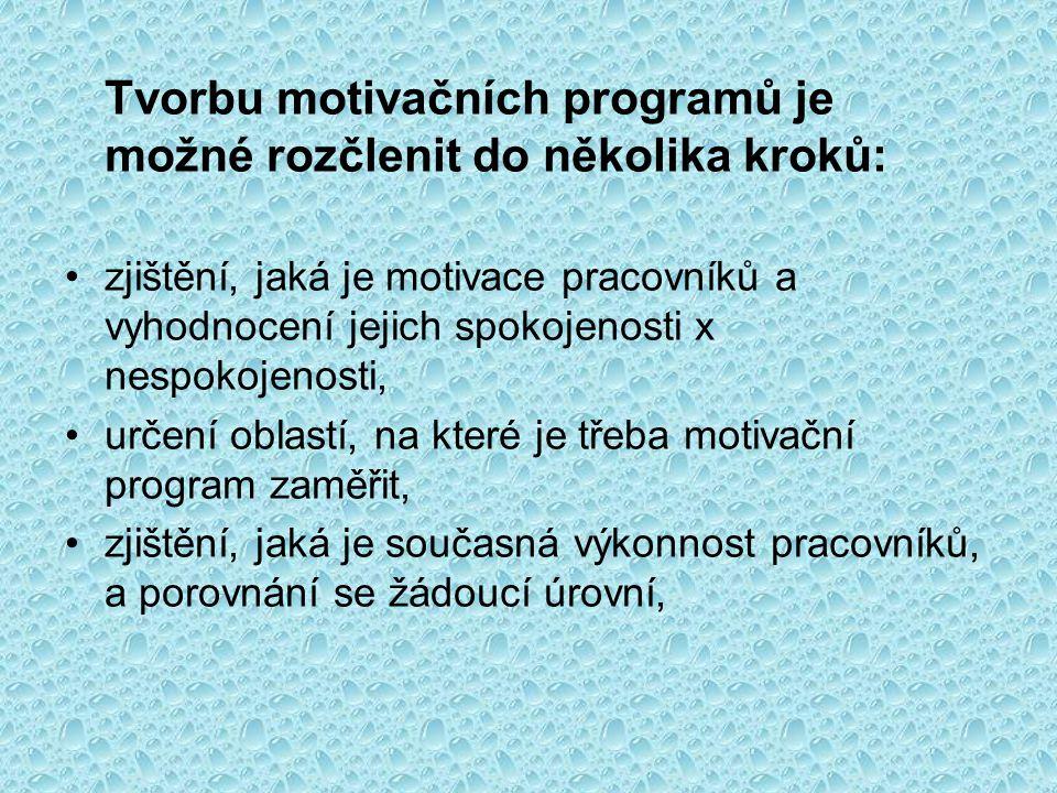 Tvorbu motivačních programů je možné rozčlenit do několika kroků: