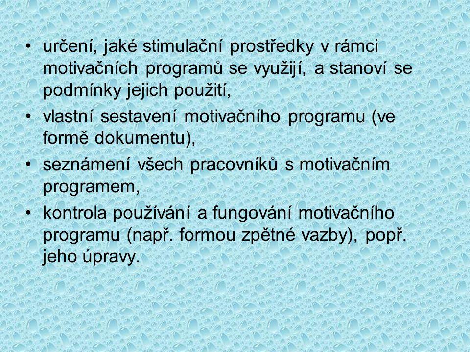 určení, jaké stimulační prostředky v rámci motivačních programů se využijí, a stanoví se podmínky jejich použití,