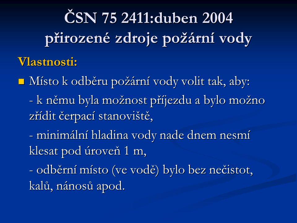 ČSN 75 2411:duben 2004 přirozené zdroje požární vody