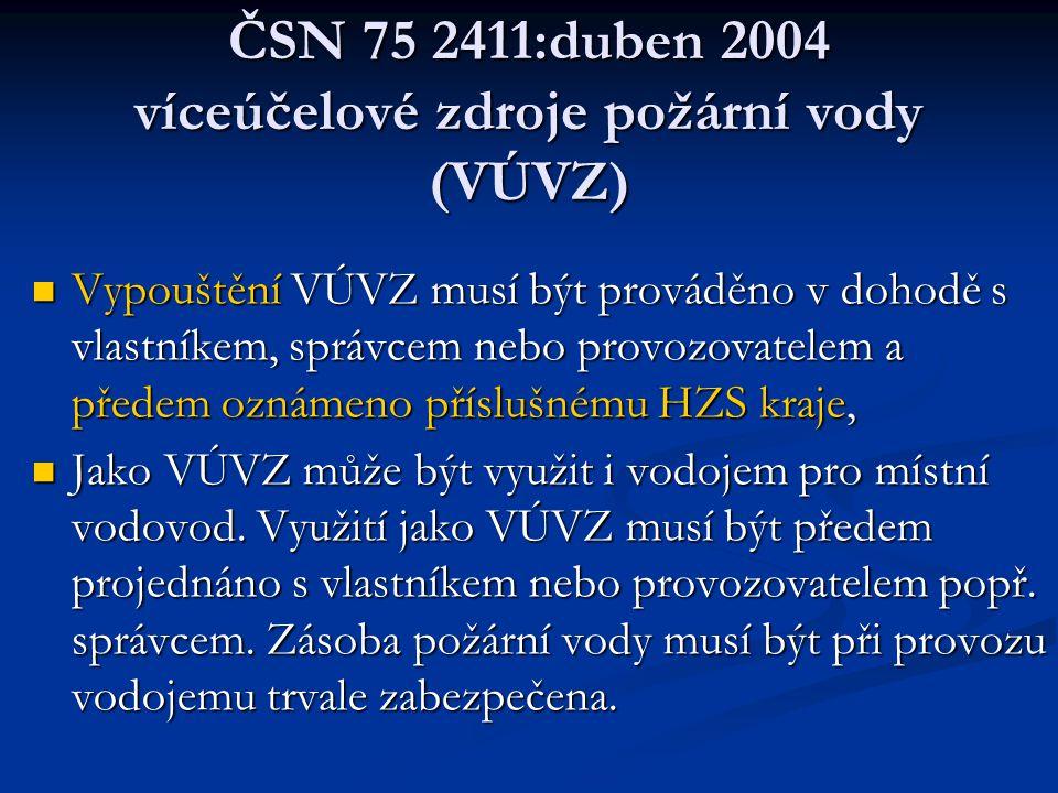 ČSN 75 2411:duben 2004 víceúčelové zdroje požární vody (VÚVZ)