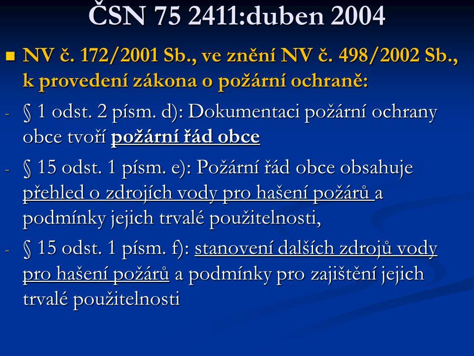ČSN 75 2411:duben 2004 NV č. 172/2001 Sb., ve znění NV č. 498/2002 Sb., k provedení zákona o požární ochraně: