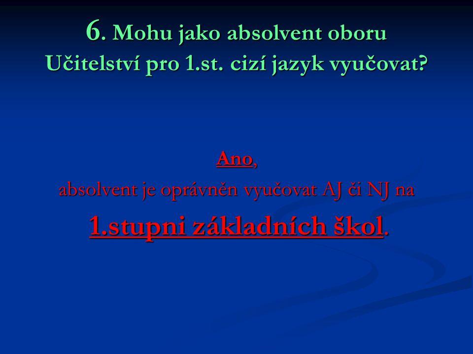 6. Mohu jako absolvent oboru Učitelství pro 1.st. cizí jazyk vyučovat