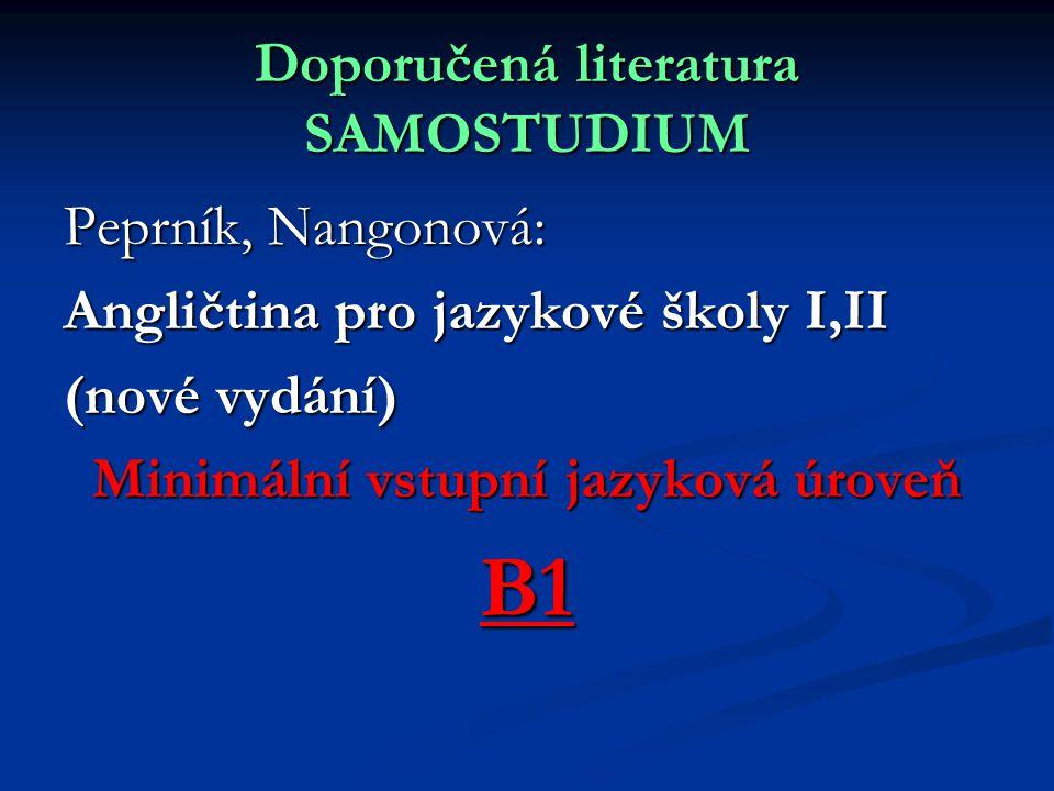 Doporučená literatura SAMOSTUDIUM