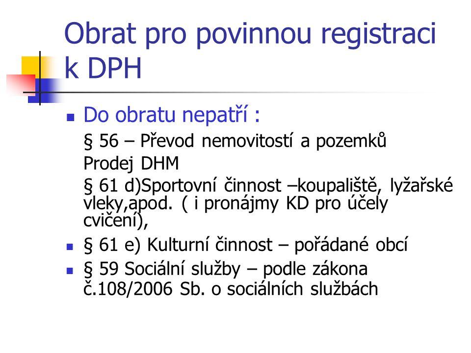 Obrat pro povinnou registraci k DPH
