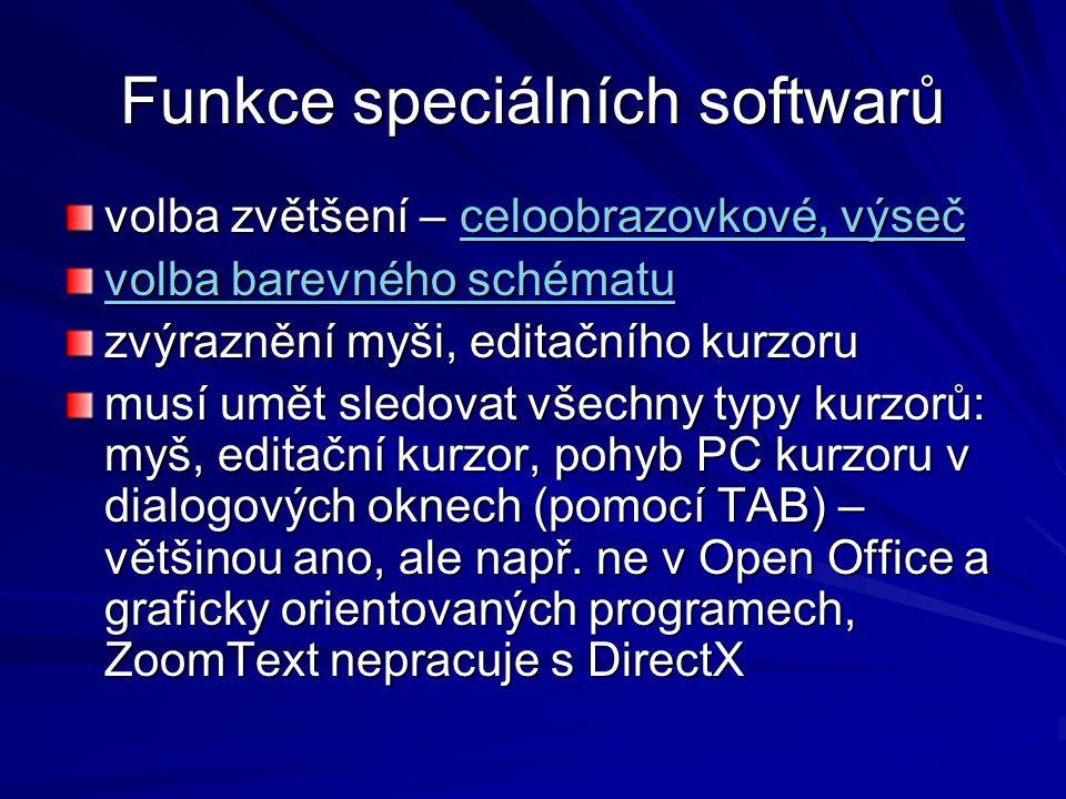 Funkce speciálních softwarů